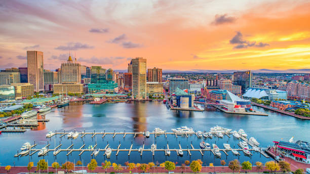 Baltimore Maryland MD Inner Harbor Skyline Aerial Baltimore Maryland MD Inner Harbor Skyline Aerial. inner harbor baltimore stock pictures, royalty-free photos & images