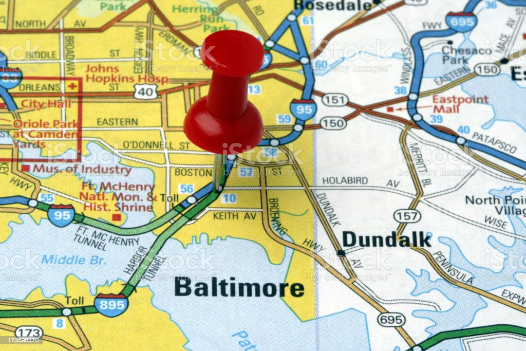 Baltimore, Maryland on a map. royalty-free stock photo