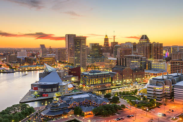 Baltimore Maryland Skyline Baltimore, Maryland, USA downtown cityscape at dusk. inner harbor baltimore stock pictures, royalty-free photos & images