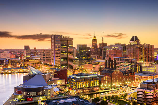 Baltimore, Maryland Skyline Baltimore, Maryland, USA downtown skyline. inner harbor baltimore stock pictures, royalty-free photos & images