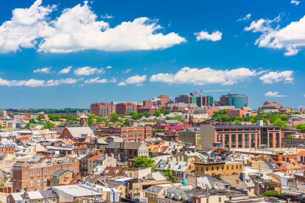 Baltimore, Maryland, USA Cityscape Baltimore, Maryland, USA cityscape overlooking little italy and neighborhoods. baltimore maryland stock pictures, royalty-free photos & images