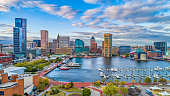 Baltimore, Maryland, USA Downtown Skyline Aerial.