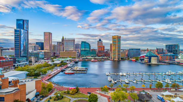 Baltimore, Maryland, USA Downtown Skyline Aerial Baltimore, Maryland, USA Downtown Skyline Aerial. inner harbor baltimore stock pictures, royalty-free photos & images