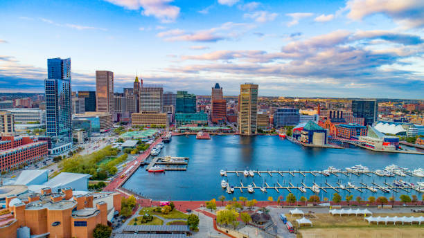 Baltimore, Maryland, USA Inner Harbor Skyline Aerial Panorama Baltimore, Maryland, USA Inner Harbor Skyline Aerial Panorama. inner harbor baltimore stock pictures, royalty-free photos & images