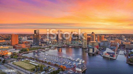 istock Baltimore, Maryland, USA Inner Harbor Skyline Aerial 1192308401