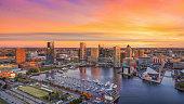 Baltimore, Maryland, USA Inner Harbor Skyline Aerial.