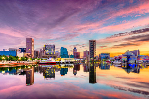 Baltimore, Maryland, USA Skyline Baltimore, Maryland, USA Skyline on the Inner Harbor at dusk. inner harbor baltimore stock pictures, royalty-free photos & images