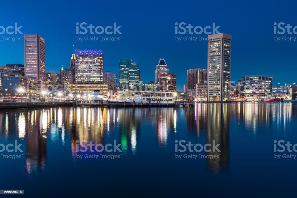 Baltimore Night Skyline stock photo