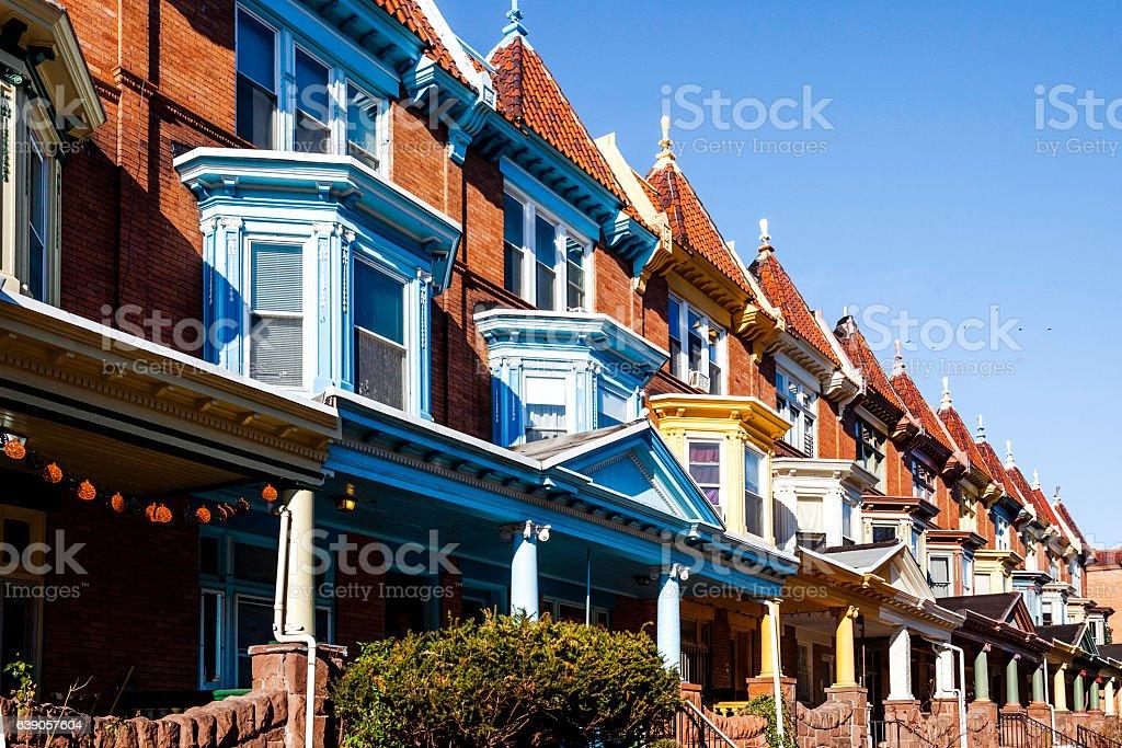Baltimore row houses - Charles Village. stock photo