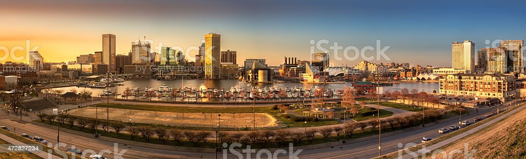 Baltimore skyline panorama at sunset stock photo