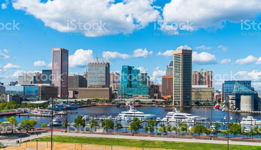 baltimore,maryland,usa. 09-07-17 :  Baltimore skyline on sunny day. stock photo