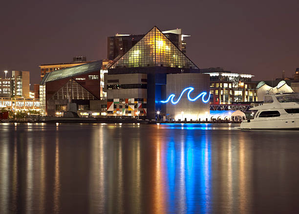 Baltimore's Inner Harbor and National Aquarium Lit at Night Baltimore's Inner Harbor cityscape at night with low clouds. The National Aquarium is aglow casting beautiful reflections on the calm water of the harbor. inner harbor baltimore stock pictures, royalty-free photos & images