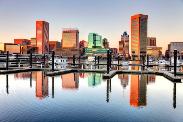 Baltimore's Inner Harbor Baltimore's Inner Harbor is the city's premier tourist attraction and one of the city's crown jewels baltimore maryland stock pictures, royalty-free photos & images