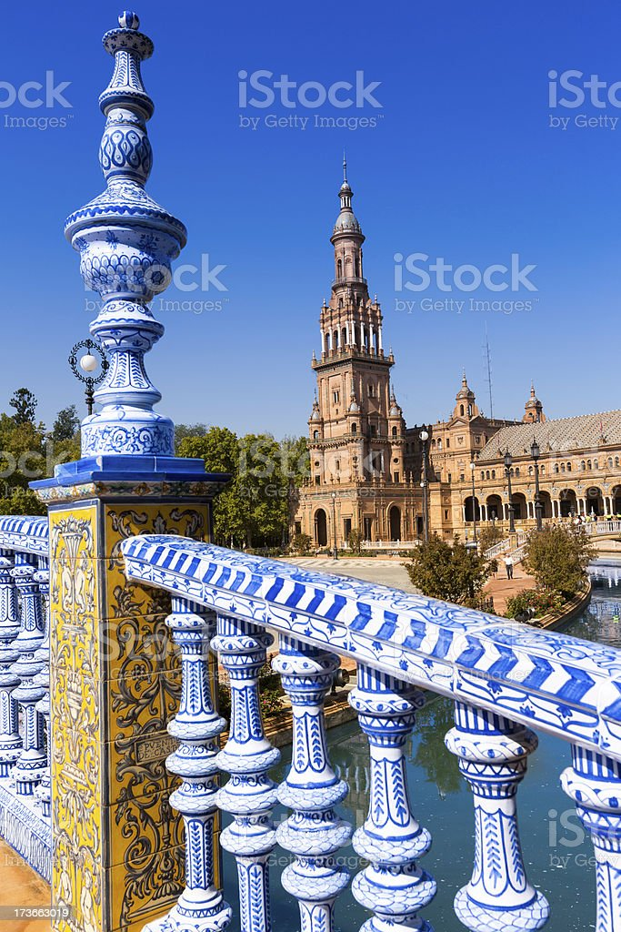 Balustrade blue and white of 'Place de L'Espagne' royalty-free stock photo