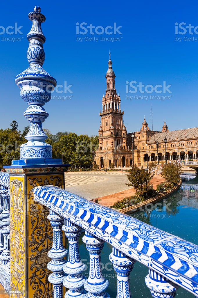 Balustrade blue and white of 'Place de L'Espagne' stock photo