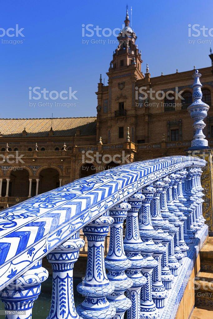 Balustrade blue and white of Plaza de Espana stock photo