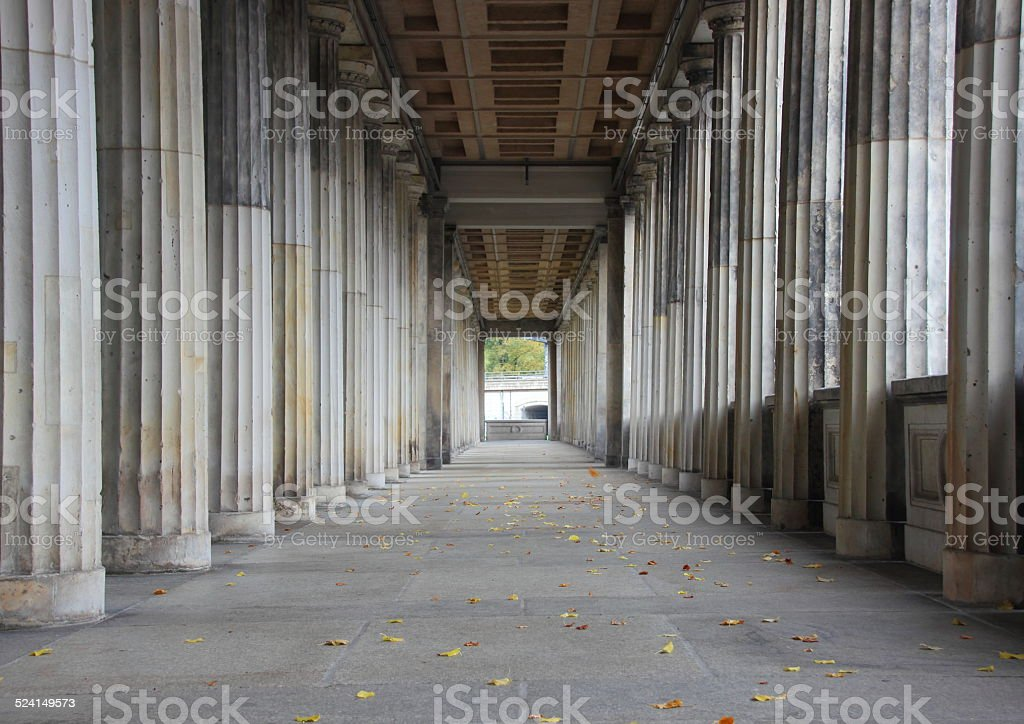 Balustrade line of  marble columns with center endpoint stock photo