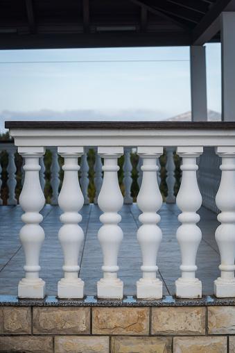 Balustrade on a house veranda, Village of Mali Iz, sland of Iz, Zadar archipelago, Dalmatia, Croatia