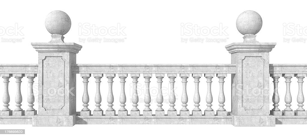 Balustrade on white stock photo