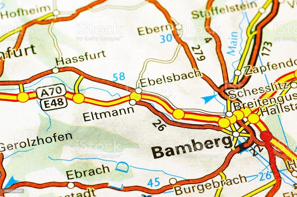 Karte Bamberg.Bamberg Bereich Auf Einer Karte Anzeigen Stockfoto Und Mehr