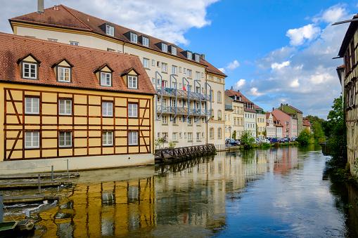 Bamberg, Bamberg, cityscape along the Linker Regnitzarm river (Bavaria, Germany)