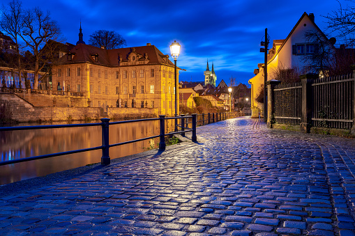 Bamberg. City embankment at sunset.