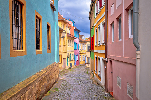 Bamberg. Colorful alley in Bamberg old town center view