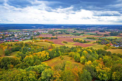 Bamberg. Germany landscape view from Altenberg castle, green nature near Wildensorg village