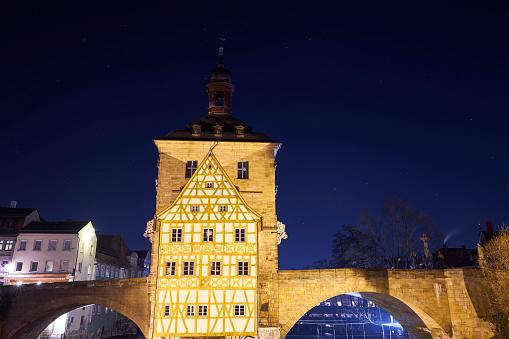 Bamberg Old Town Hall at night