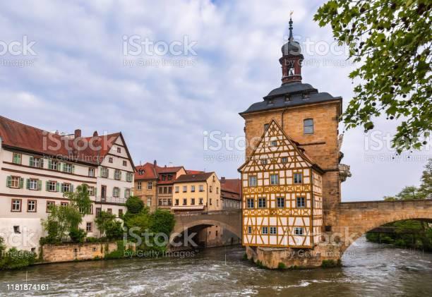 Bamberg Oude Stadhuis Beieren Duitsland Stockfoto en meer beelden van Architectuur