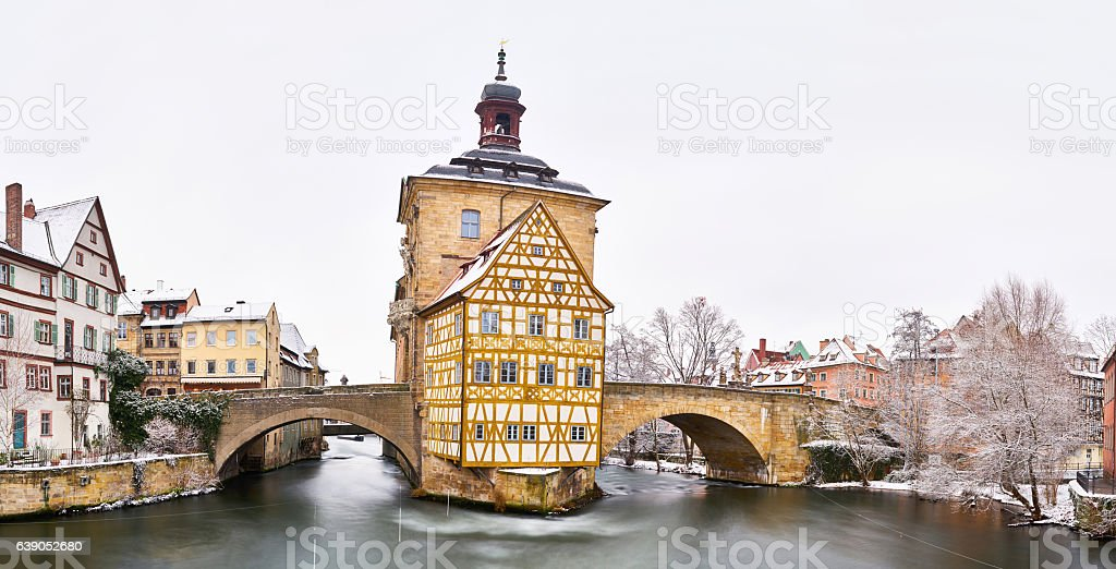 Bamberg Old Town Hall in Winter stock photo