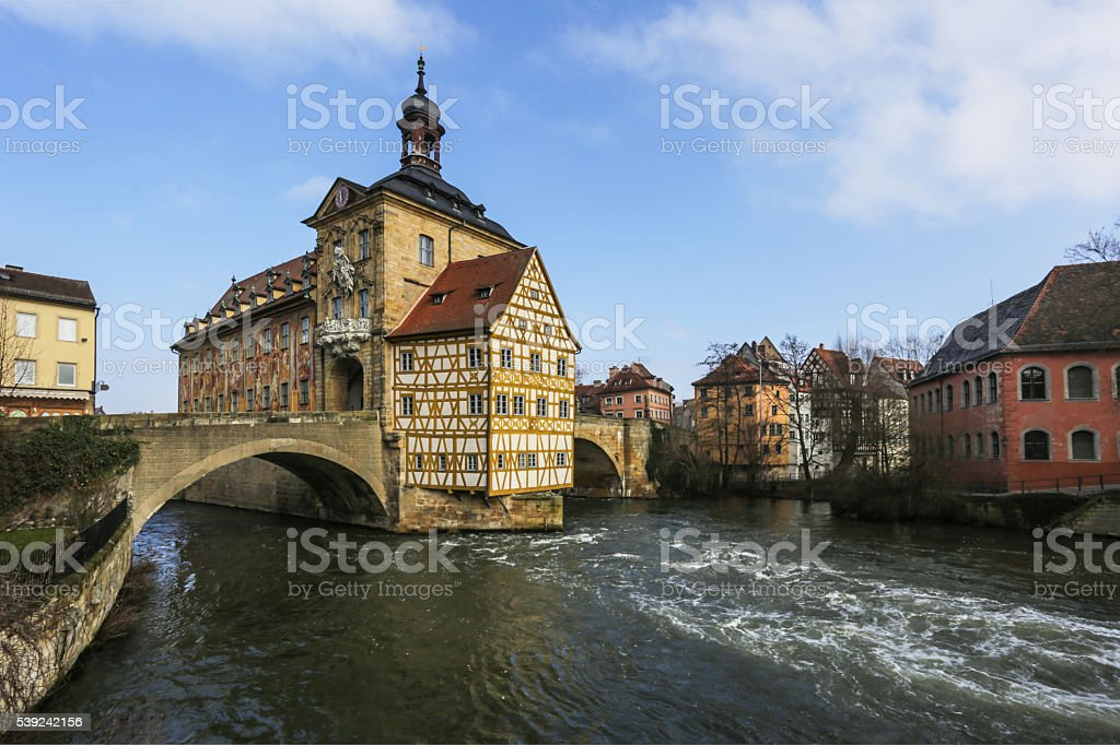 Bamberg, town hall and old houses royalty-free stock photo