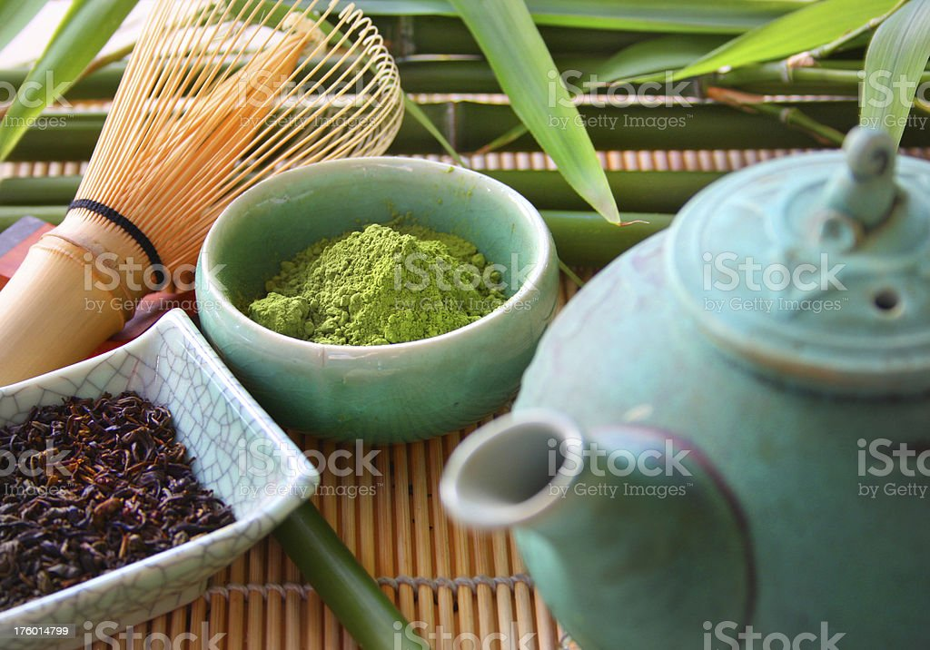 Bamboo and Green Tea stock photo