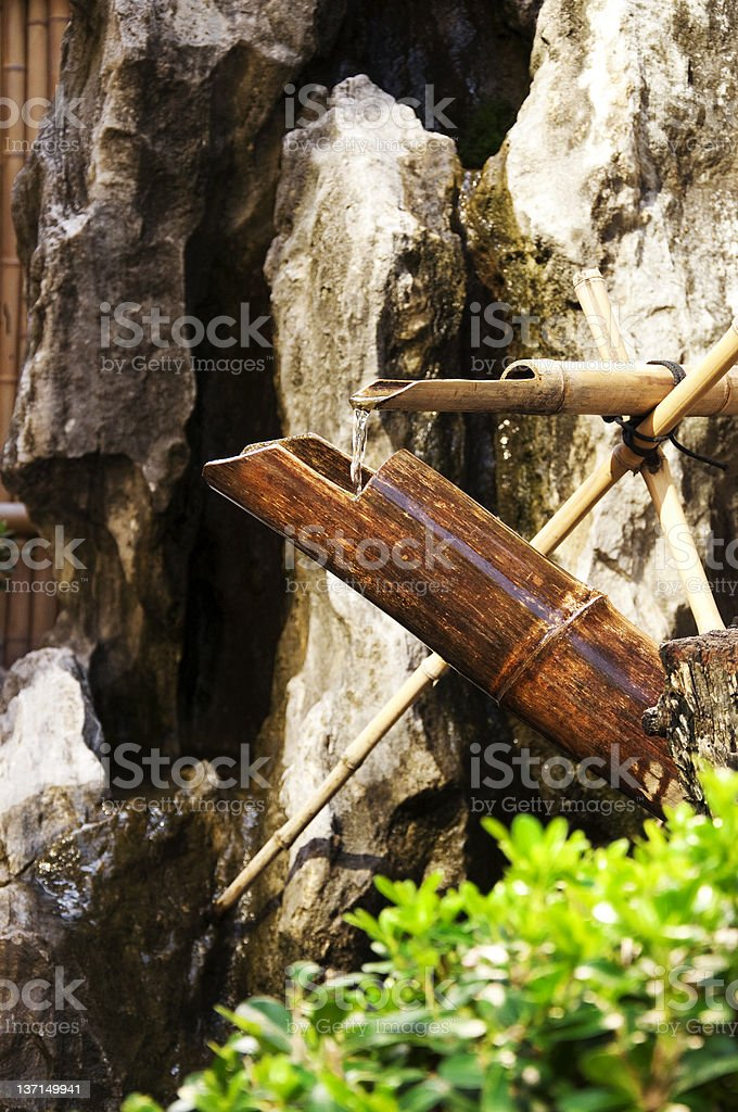 Bamboo and water fountain. stock photo