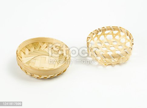 Bamboo basket hand made on White Background