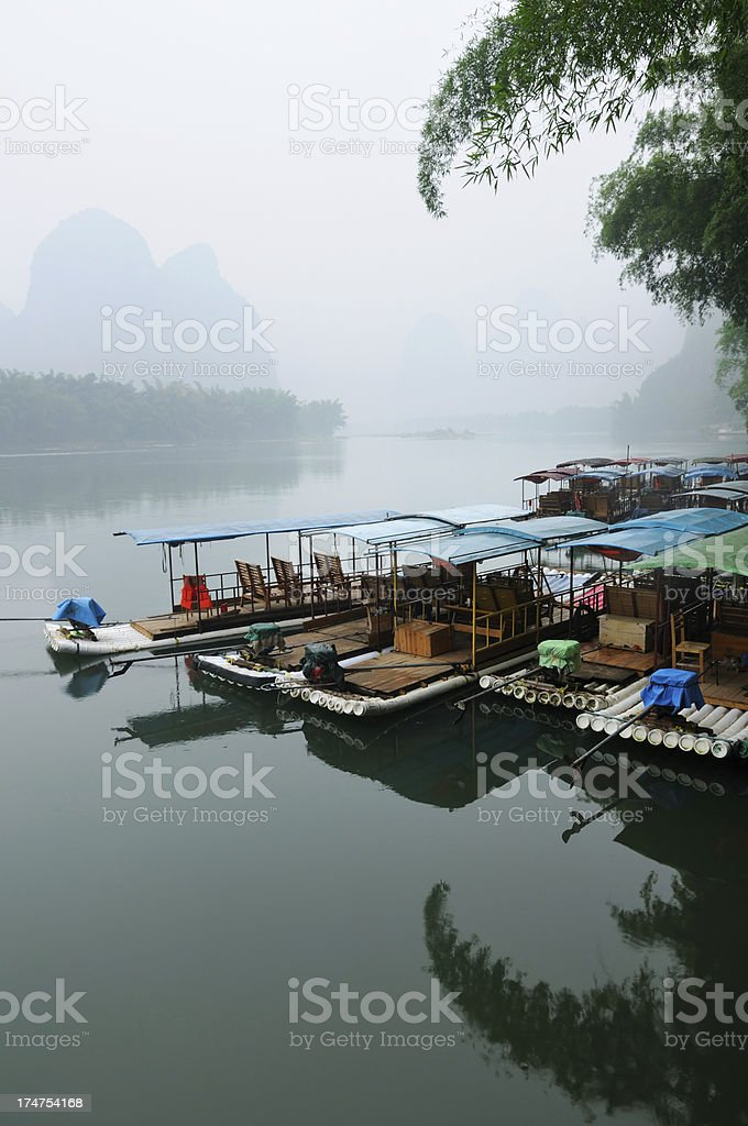 Bamboo boats on Li River in China royalty-free stock photo