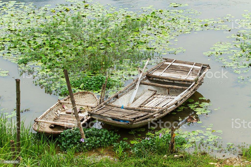 Bamboo boats stock photo