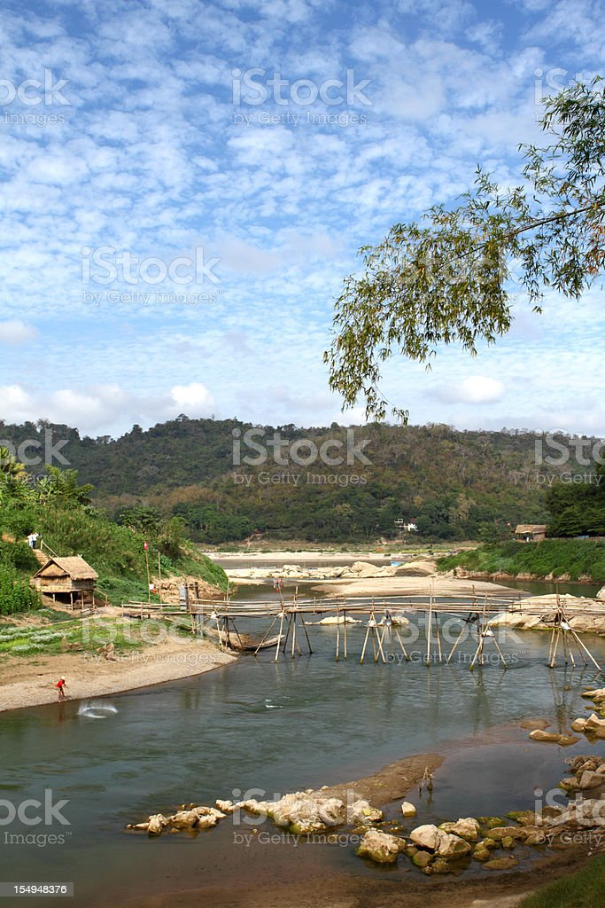 Bamboo bridge over a river in Luang Prabang in Laos stock photo
