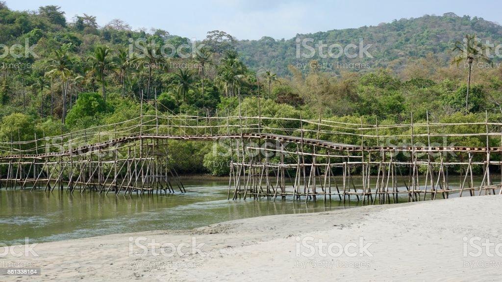 Bamboo bridge stock photo