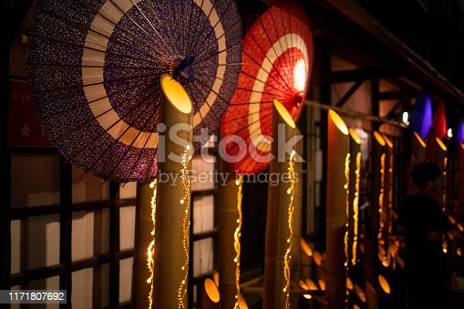 Bamboo candlelights at Japanese summer night festival