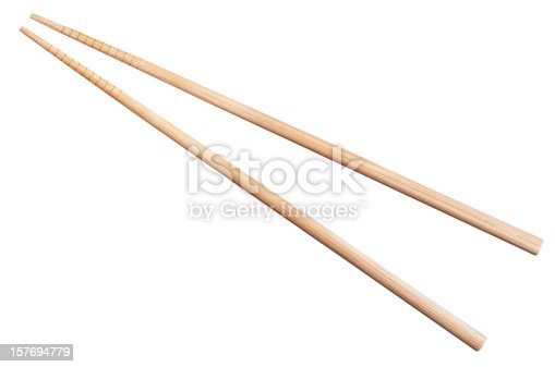bamboo chopsticks isolated on white background with clipping path