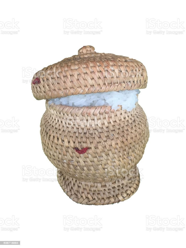 bamboo container for holding cooked glutinous rice stock photo