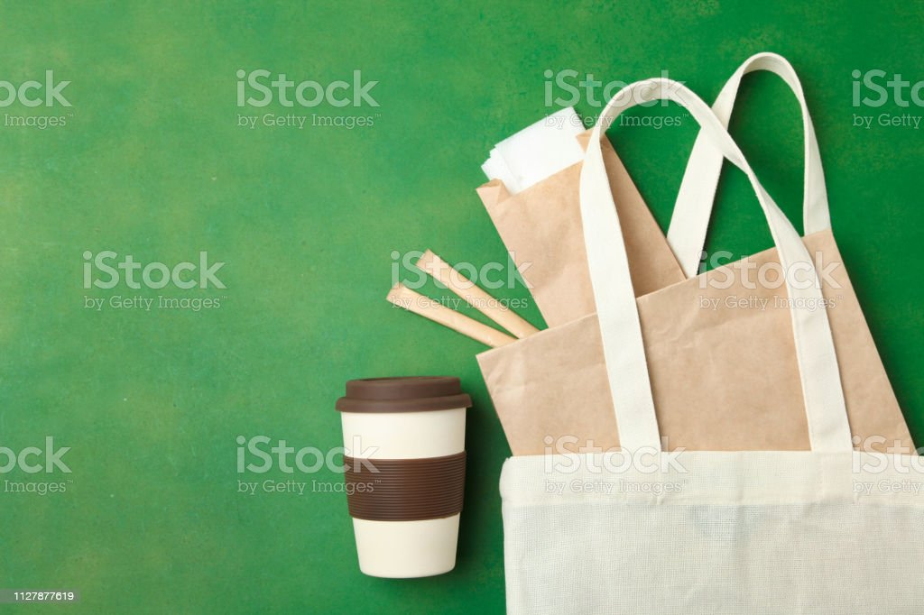 bamboo cup, eco bag and craft packs stock photo