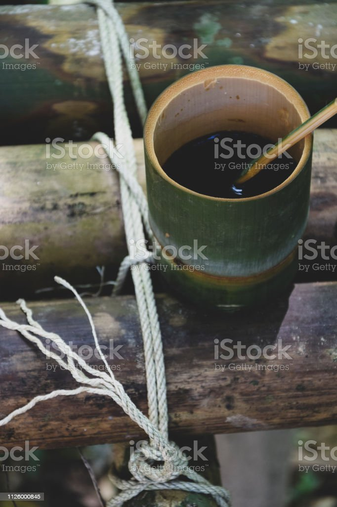 Bamboo Cup of coffee stock photo