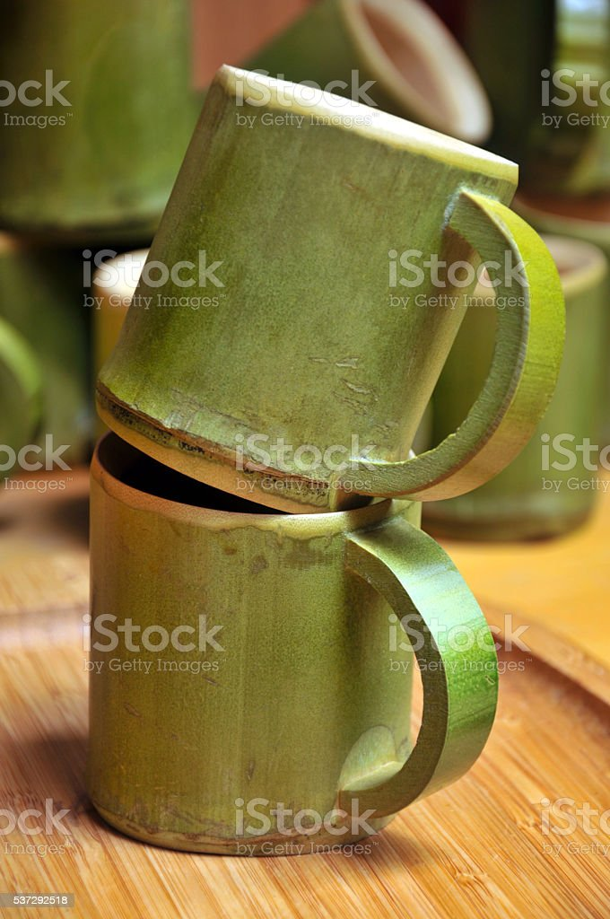 Bamboo cup stock photo