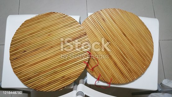 Bamboo curtain. Chinese dumplings with bamboo curtains