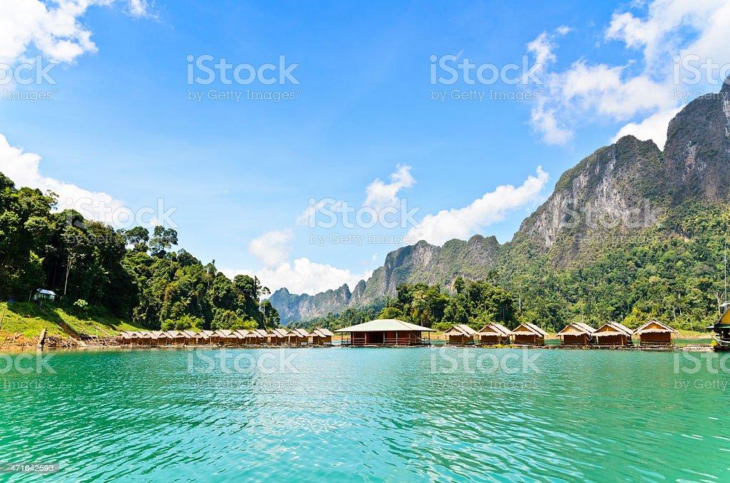 Bamboo floating resort stock photo
