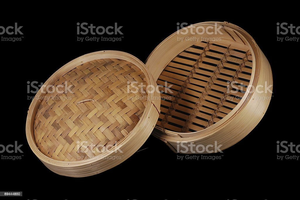 Bamboo Food Steamer With Lid, Raised View royalty-free stock photo