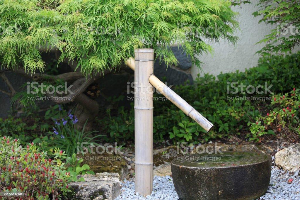 Bamboo fountain in a Japanese zen garden stock photo