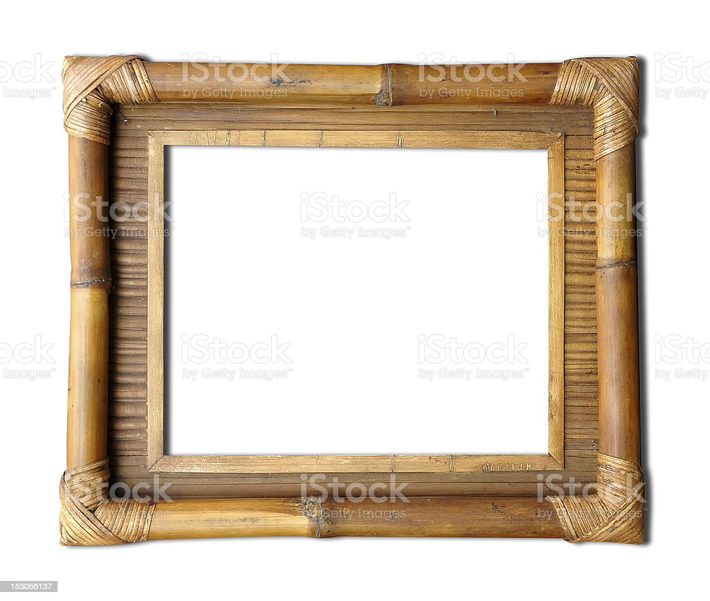 Bamboo frame framing a blank space stock photo